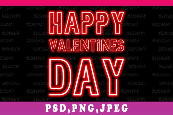 neon happy valentines day illustration