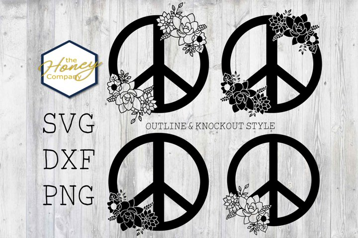 Hand Drawn Succulent Peace Sign SVG PNG DXF Flower Cut File