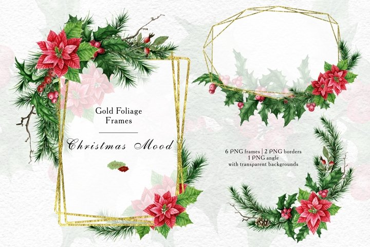 Gold Foliage Christmas frames, Watercolor Holly PNG clipart