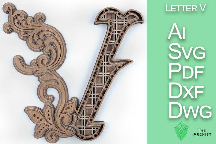 Multilayered svg, alphabets Letter V artist floral letter