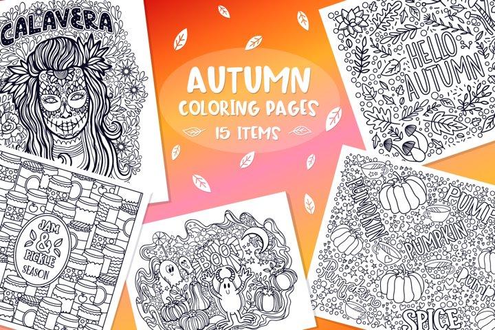 Autumn Coloring Pages Bundle- 15 vector items