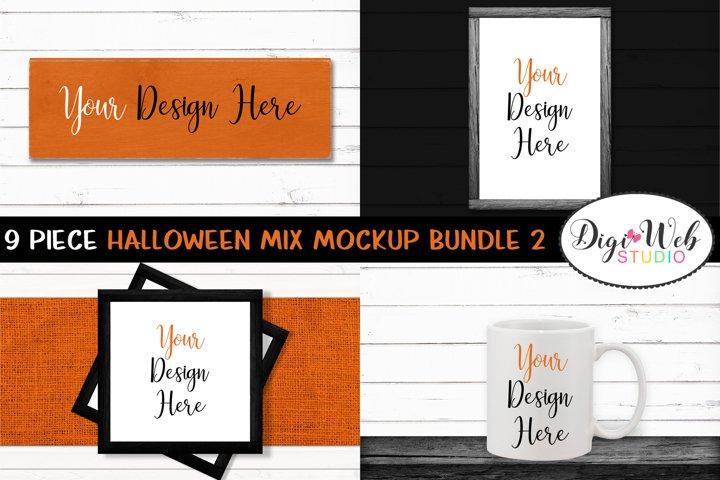 Mockup Bundle -Halloween Mix Wood Signs, Pillow & Coffee Cup