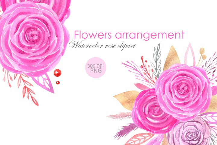 Watercolor pink rose clipart