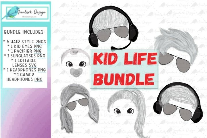 Kid Life PNGs w/ sunglasses, gamer headphones, eyes and hair