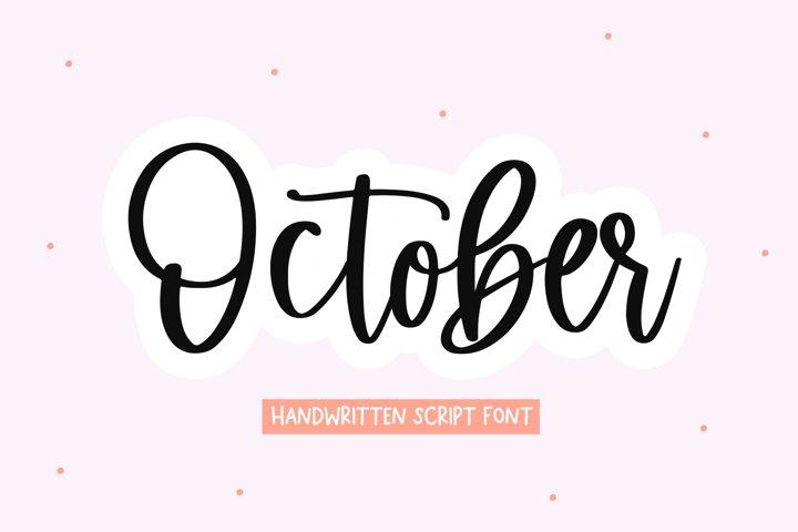 October - Handwritten Script Font