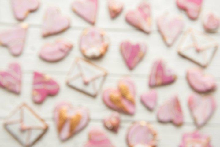 Valentine cookies hearts, envelopes, lips on white backgroun