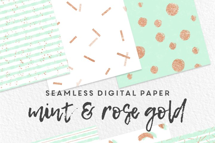 Mint and Rose Gold Seamless Digital Paper