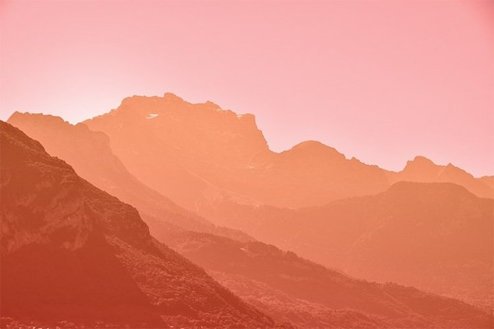 Sunset Pink Orange Aerial Perspective Mountain Landscape