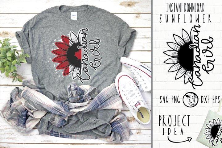 2 Instant Download Sunflower Canada Flag Canadian Girl SVG