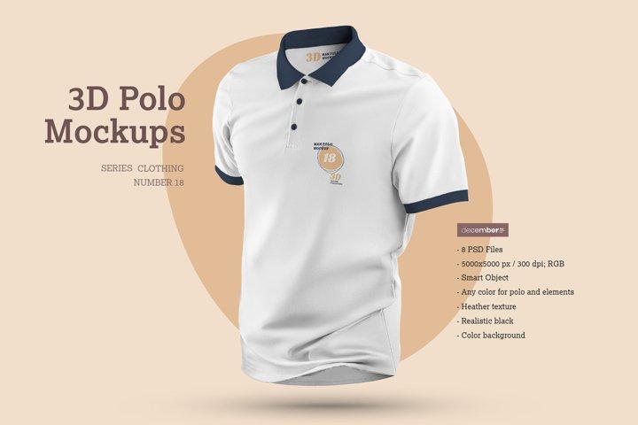 8 3D Polo Mockups