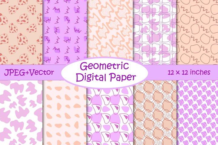 Modern Geometric Digital Paper Pack - Purple and Neutral