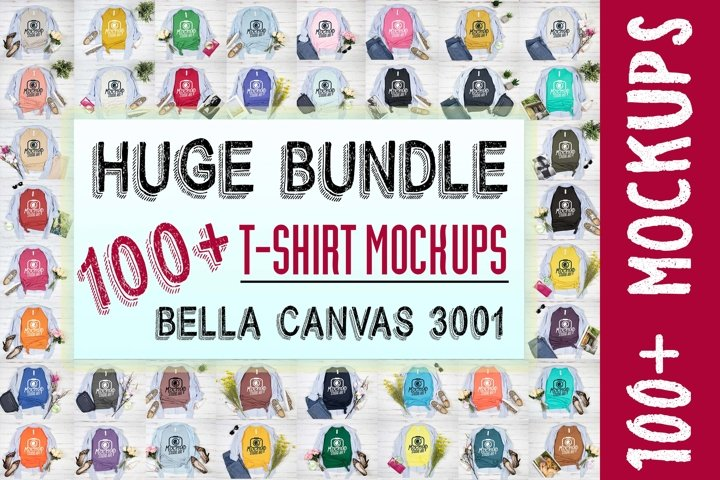 Huge Bundle Bella Canvas 3001 T-Shirt Mockup Mega Bundle