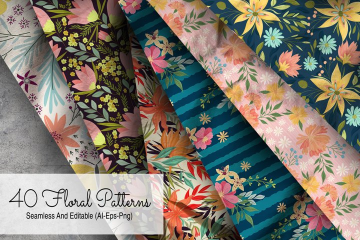 40 Floral Seamless Patterns