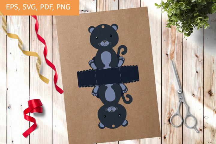 Cute Gift Package Panther Template SVG, Gift Box SVG