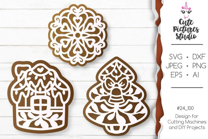 Christmas gingerbread set of Cricut SVG file, Gift tag svg