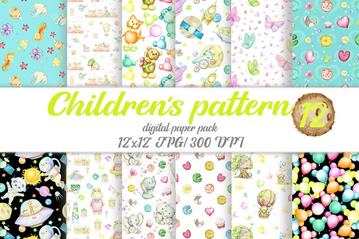 Digital paper, childrens clipart. Watercolor seamless patte