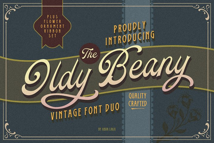 Oldy Beany Font Duo with Extras