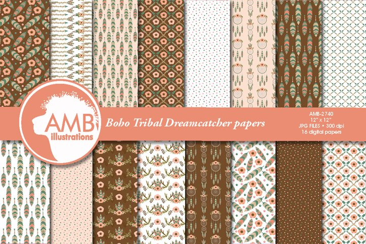 TRIBAL BOHO DREAMCATCHER PAPERS AMB-2740