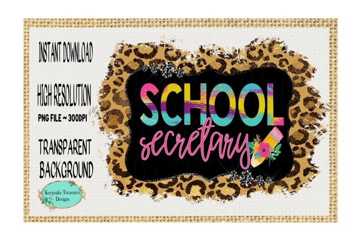 School Secretary, Leopard Print, Sublimation Design