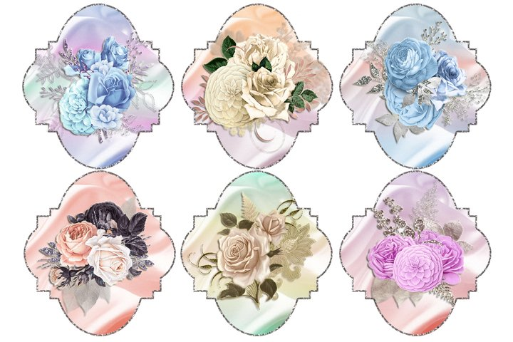 Silver Framed Floral Toppers 1