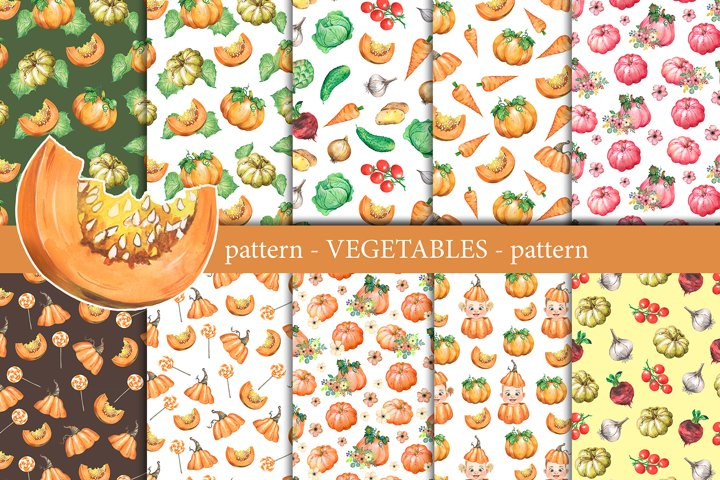 Vegetables watercolor Scrapbooking paper, patterns pumpkins