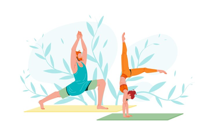 Young People In Sportswear Practicing Yoga Vector