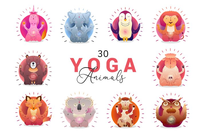 30 Vector Yoga Animals