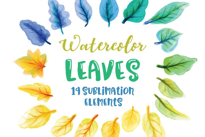 Watercolor Leaves Sublimation Elements example