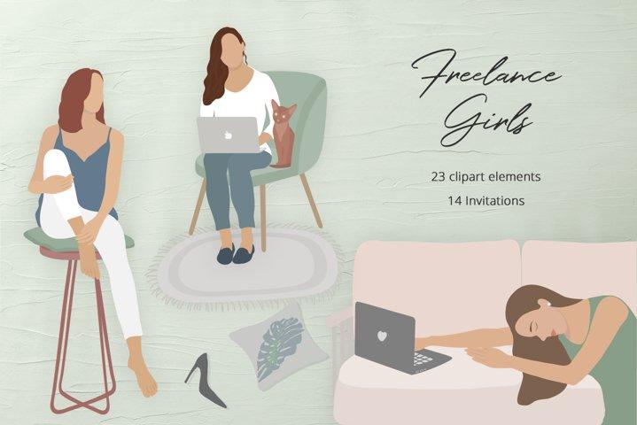 Freelance Girls Illustration Set