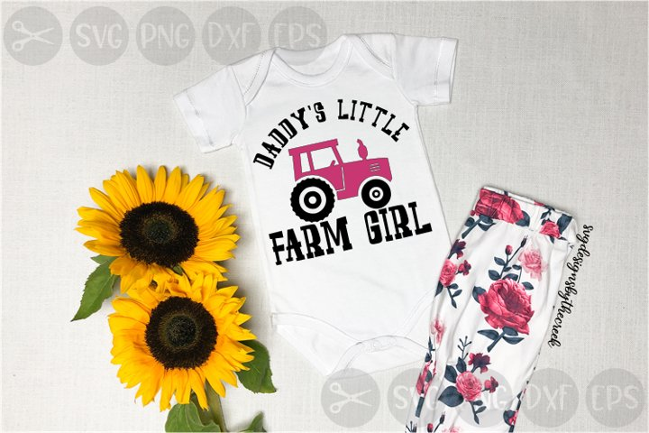 Daddys Little Farm Girl, Tractor, Pink, Cut File, PNG, SVG