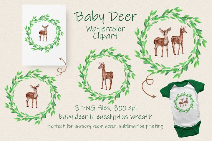 Baby Deer Watercolor Clipart - 3 PNG sublimation files