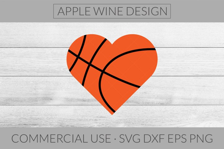 Basketball Heart SVG DXF PNG EPS Cutting File
