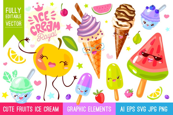 Cute Fruits Ice Cream Characters