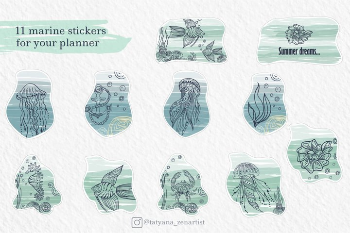 Marine stickers clipart collection SVG example 1