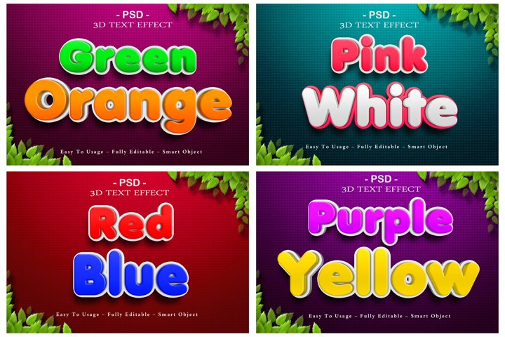 4 packs of cartoon 3d psd text effect with 16 styles