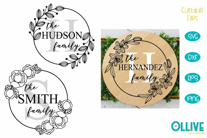 Family Name Monogram Frame SVG Bundle