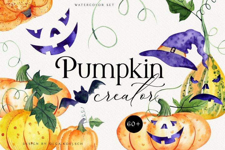 Watercolor Halloween clipart Pumpkins creator for kids