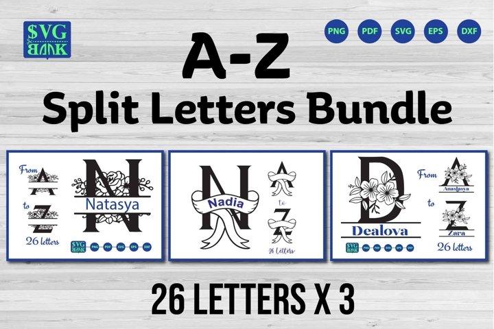 Split monogram letters A-Z Svg Bundle, Alphabet bundle svg