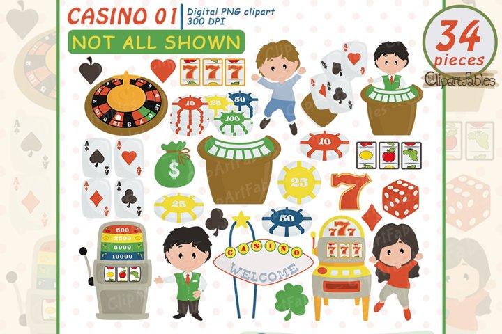 Cute CASINO clipart, Gambling Clip art, Poker - Digital art