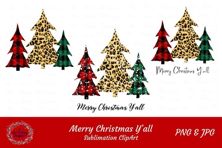 Buffalo Plaid Leopard Christmas Trees Sublimation Bundle