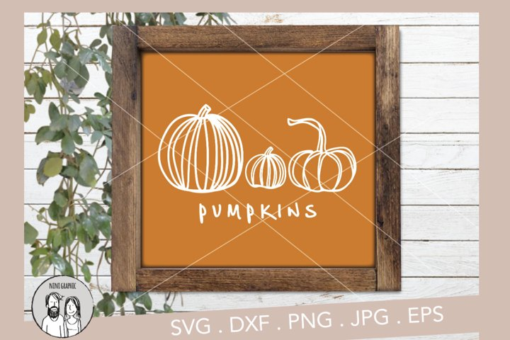 Pumpkins, Fall Sign with pumpkins cut files and Clip-arts