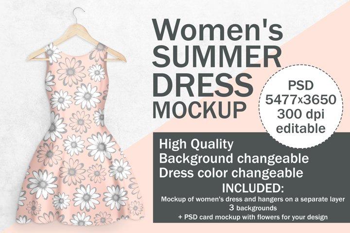 WOMENS DRESS MOCKUP. 3 Backgrounds and PSD Card Mockup