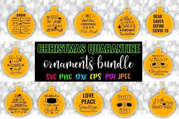 Christmas Quarantine Round Ornaments SVG Bundle- Christmas