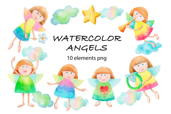 Angels watercolor clipart collection