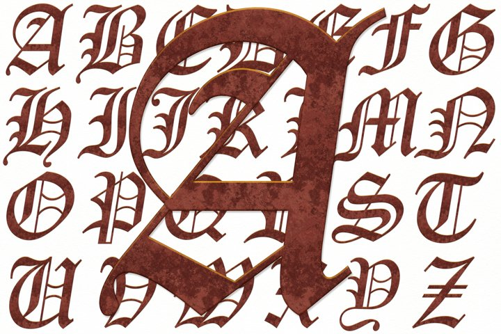 Old English, Latin Alphabet and Numbers, Rusty Metal Clipart