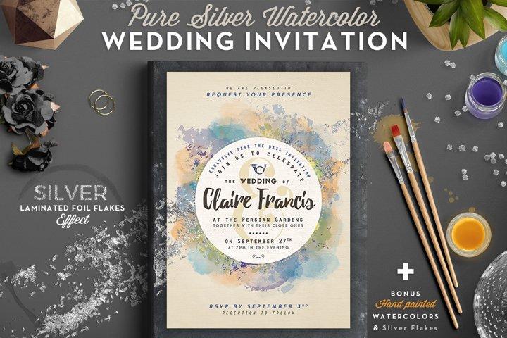 Pure Silver Watercolor Wedding Card example