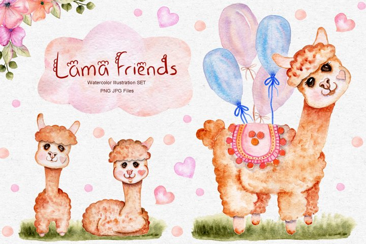 Watercolor Lama Illustration SET