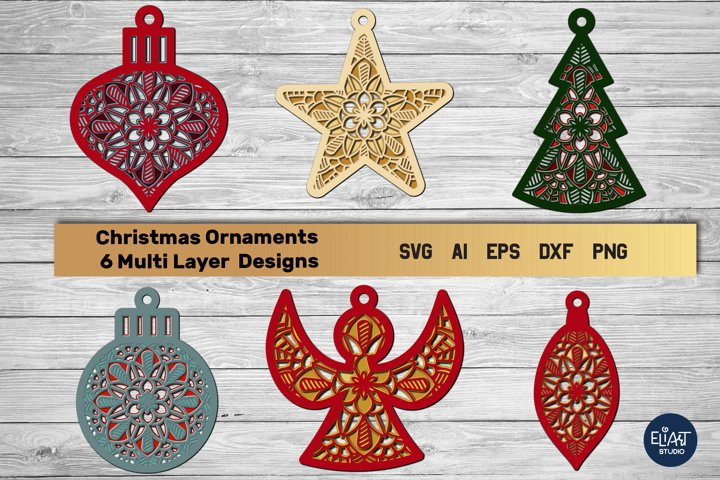 Multi Layer Christmas Ornament SVG Bundle | 3D Layered Files