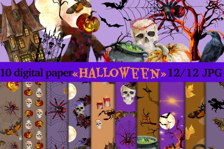 Halloween party decor paper. Seamless patterns.