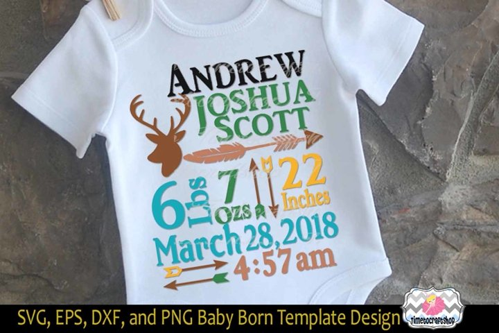 SVG, Dxf, Png & Eps Baby Birth Announcement Template